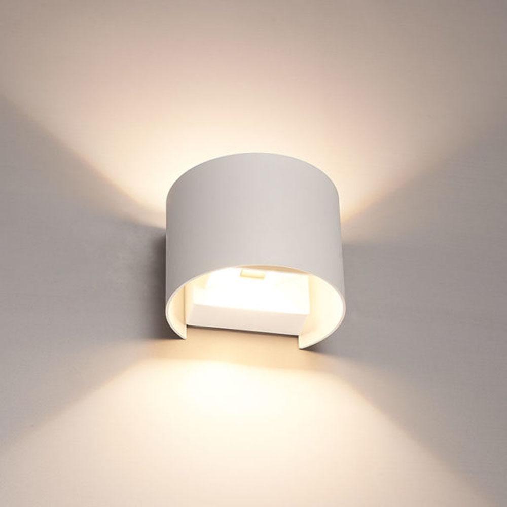 LED wandlamp IP65 wit rond 3000K Warm wit - sfeerfoto onderkant