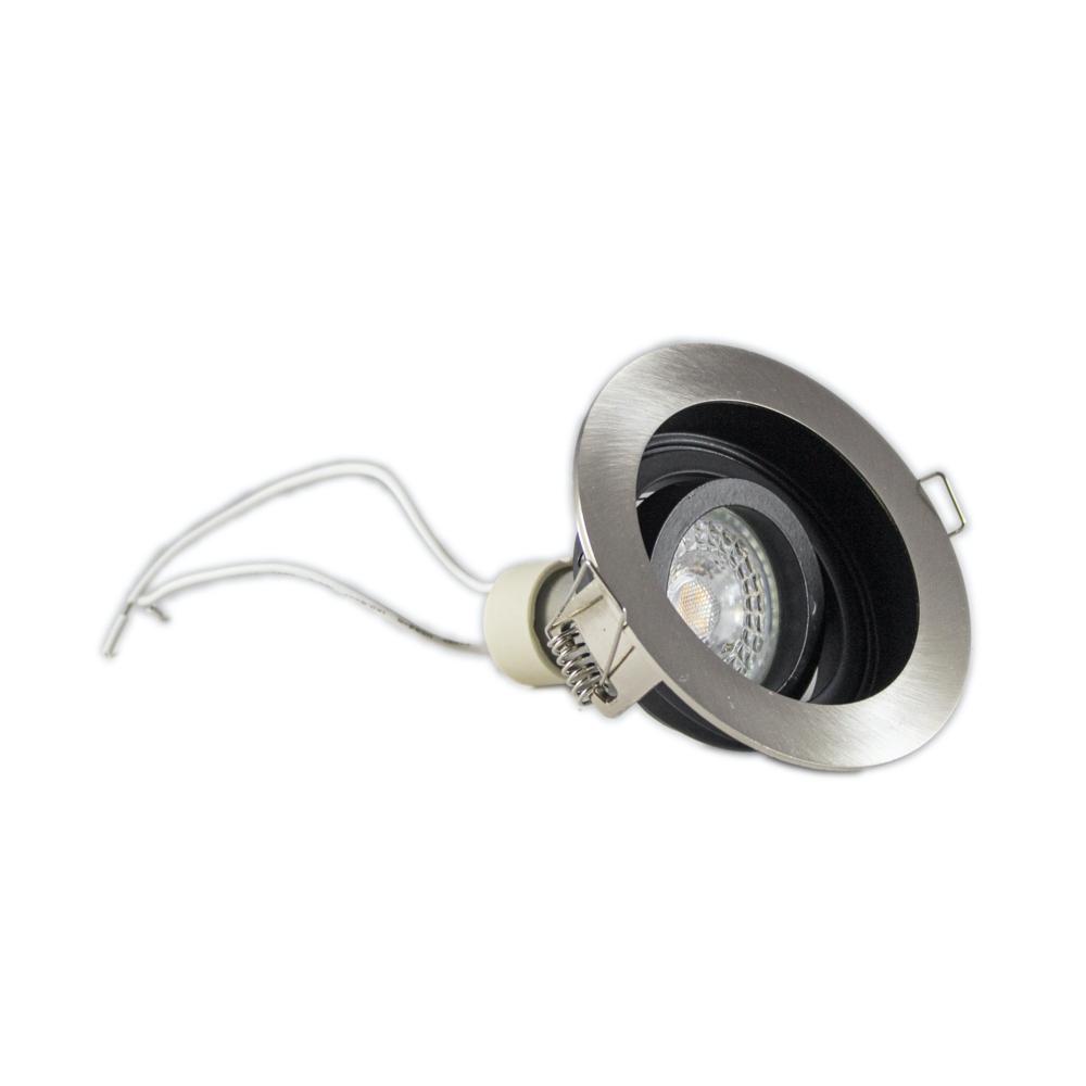 Inbouwspot LED Zwart rond aluminium 12 Volt dimbaar - 2700K Warm wit - spot gekanteld