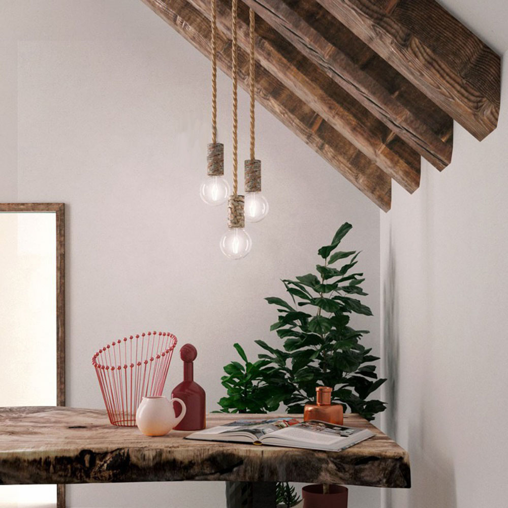Lamphouder E27 fitting - grote fitting - schors hout - sfeerfoto