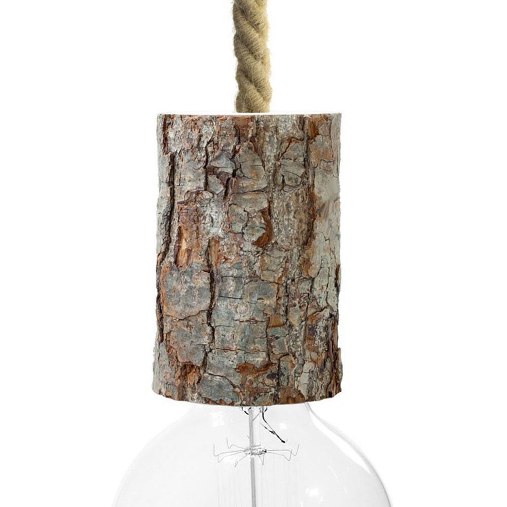Lamphouder E27 fitting - grote fitting - schors hout - vooraanzicht met lamp