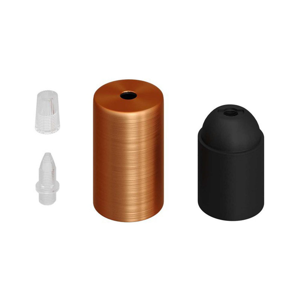 Lamphouder koper / goud E27 fitting complete set - onderdelen