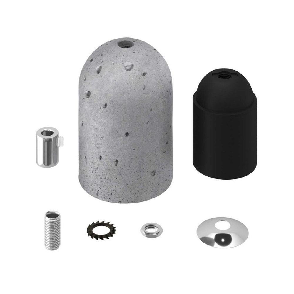 Lamphouder lichtgrijs cement E27 fitting - onderdelen