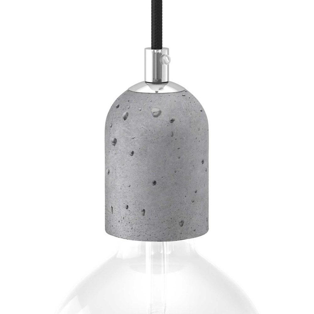 Lamphouder lichtgrijs cement E27 fitting - vooraanzicht inc. lamp