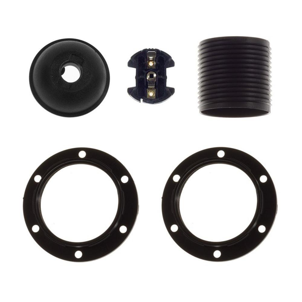 Lamphouder set zwart met 2 ringen E27 fitting - onderdelen