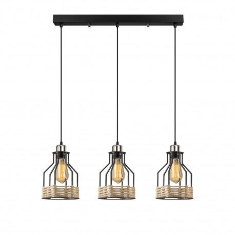 Landelijke 3 dubbele hanglamp met touw