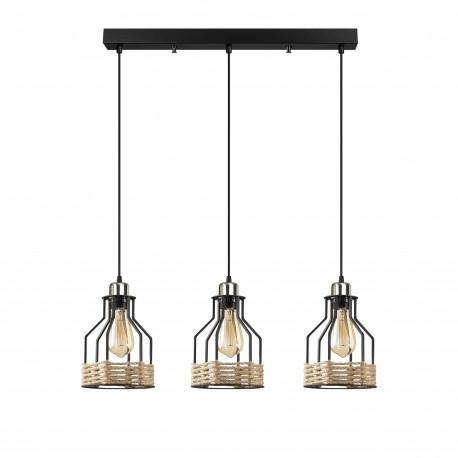 Metalen landelijke hanglamp met touw