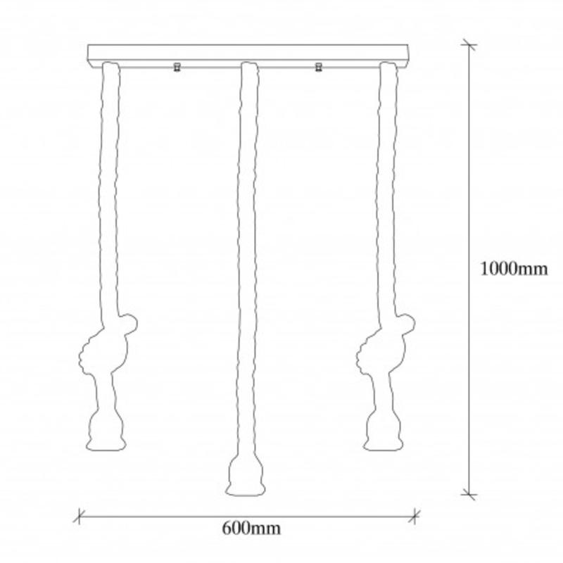 Landelijke hanglamp van touw E27 afmetingen