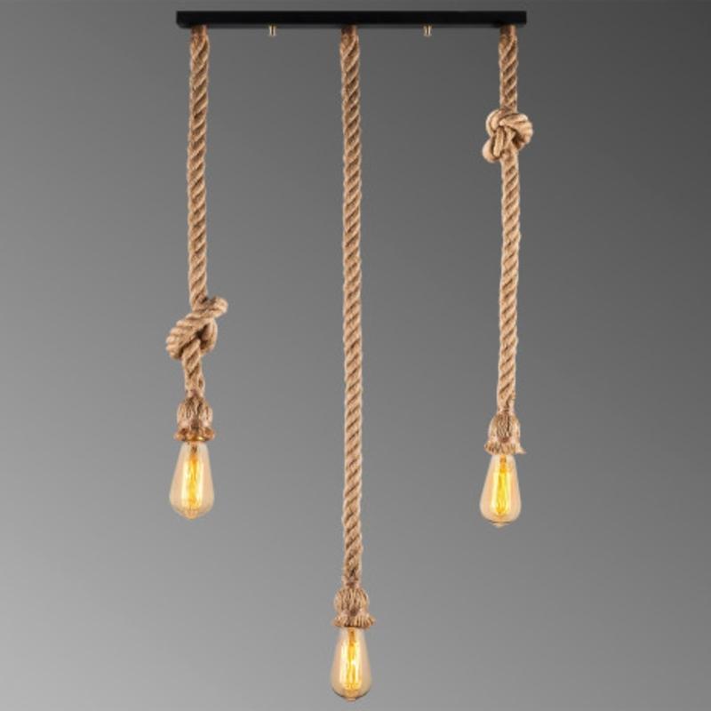 Landelijke hanglamp van touw E27