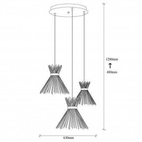 Landelijke hanglamp metaal zwart 3x E27 fitting afmetingen