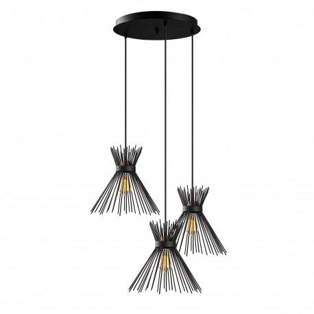Landelijke hanglamp metaal zwart 3x E27 fitting
