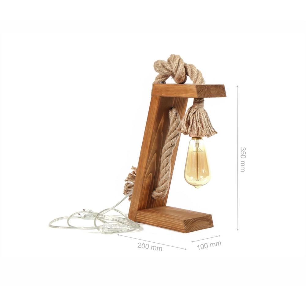 Landelijke Led tafellamp - Hout met Touw _ E27 fitting - Olivia - afmetingen