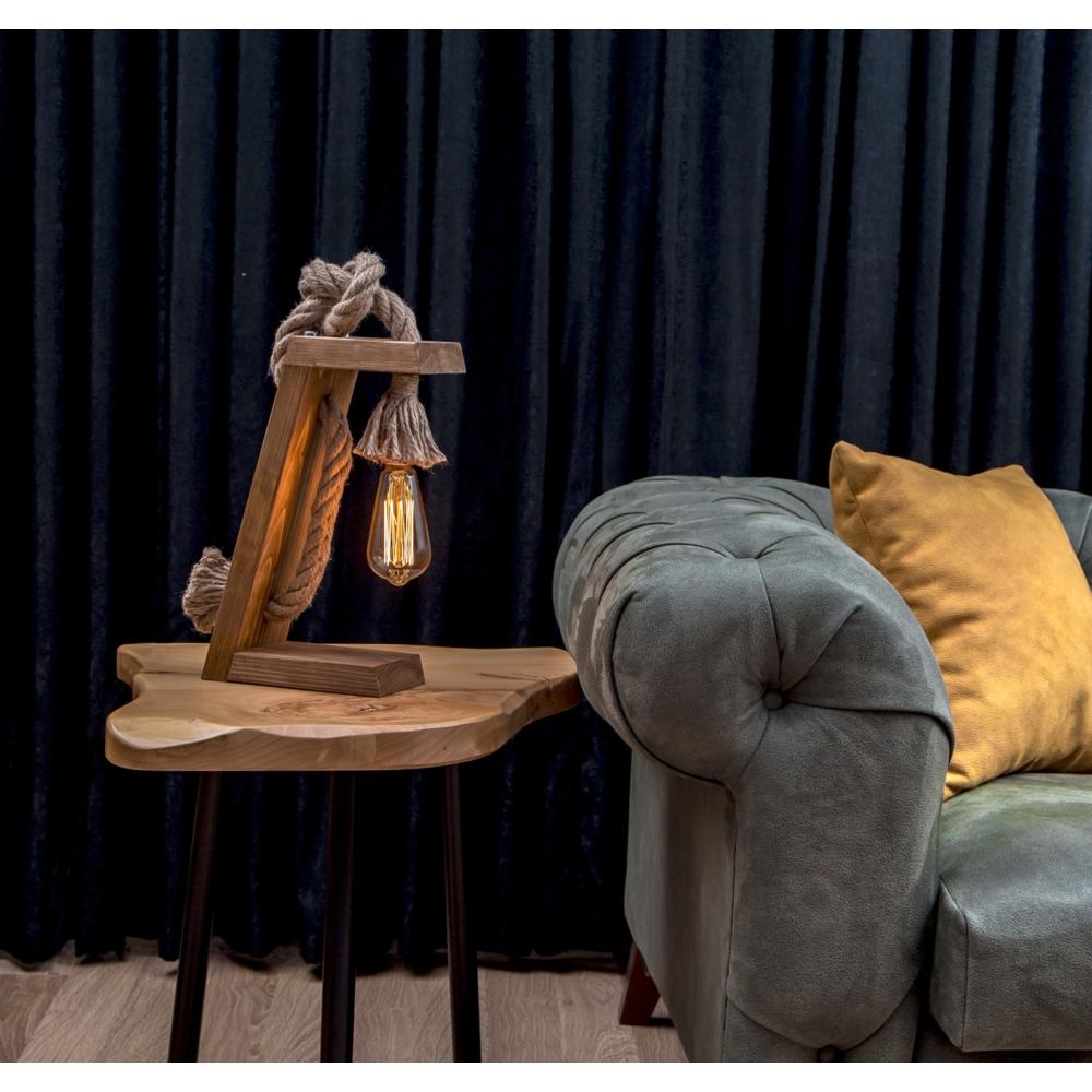 Landelijke Led tafellamp - Hout met Touw _ E27 fitting - Olivia - sfeerfoto