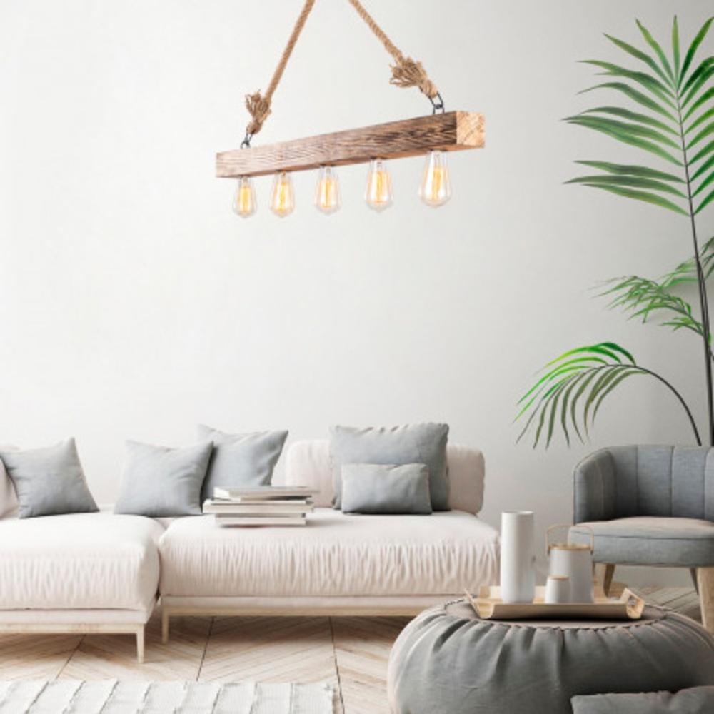 Houten hanglamp landelijk met E27 fitting - sfeerfoto