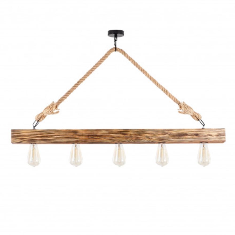 Hout balk hanglamp landelijk met E27 fitting - vooraanzicht