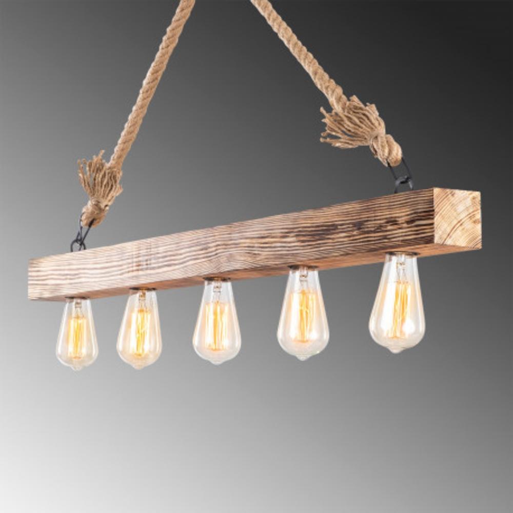 Houten hanglamp landelijk met E27 fitting - zijaanzicht