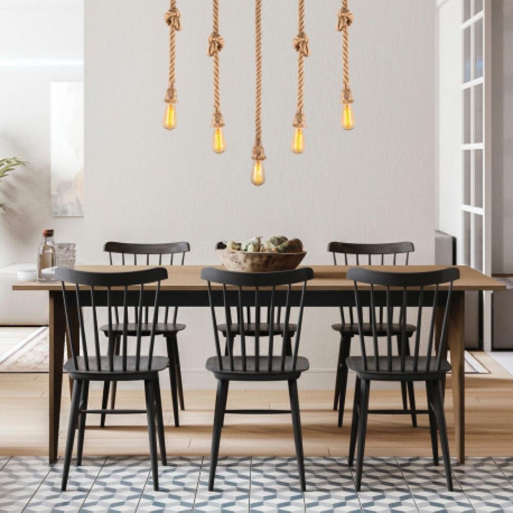 Hanglamp landelijk touw en hout 5 x E27 - Sfeerfoto