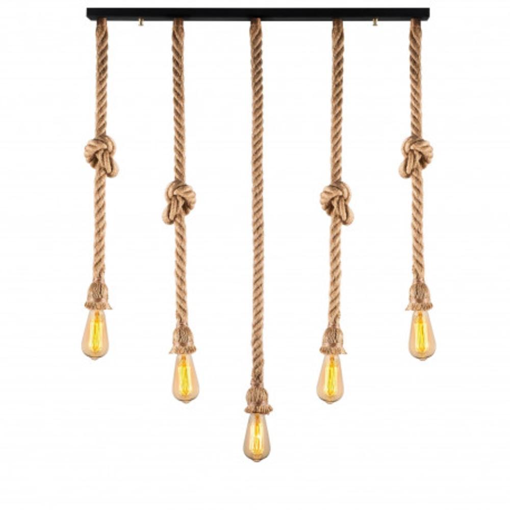 Hanglamp landelijk touw en hout 5 x E27 - vooraanzicht lampen aan