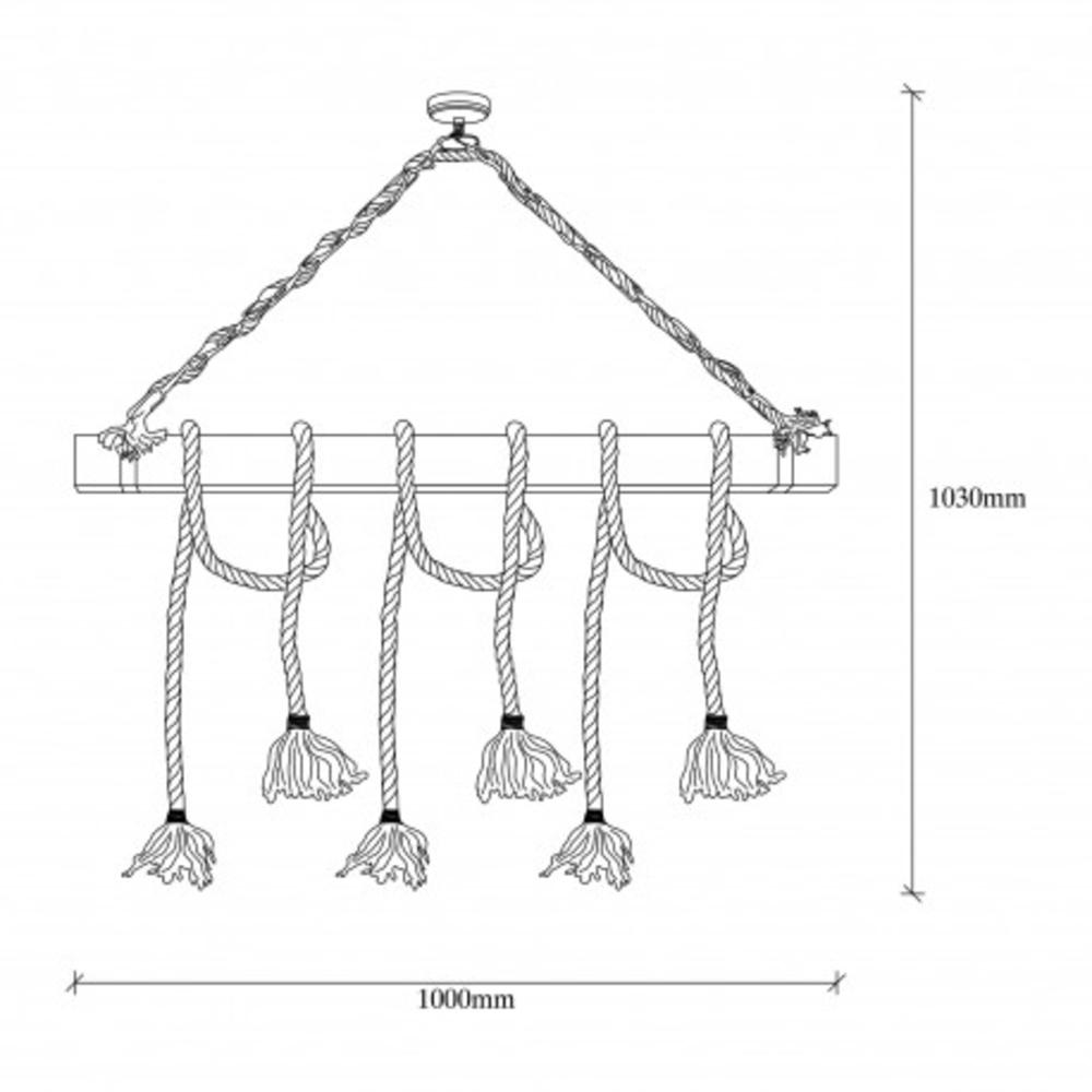 Landelijke hanglamp van hout en touw E27 - tekening