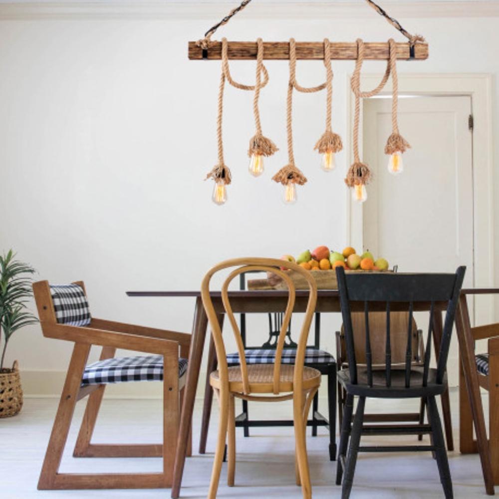 Landelijke hanglamp van hout en touw E27 - sfeer