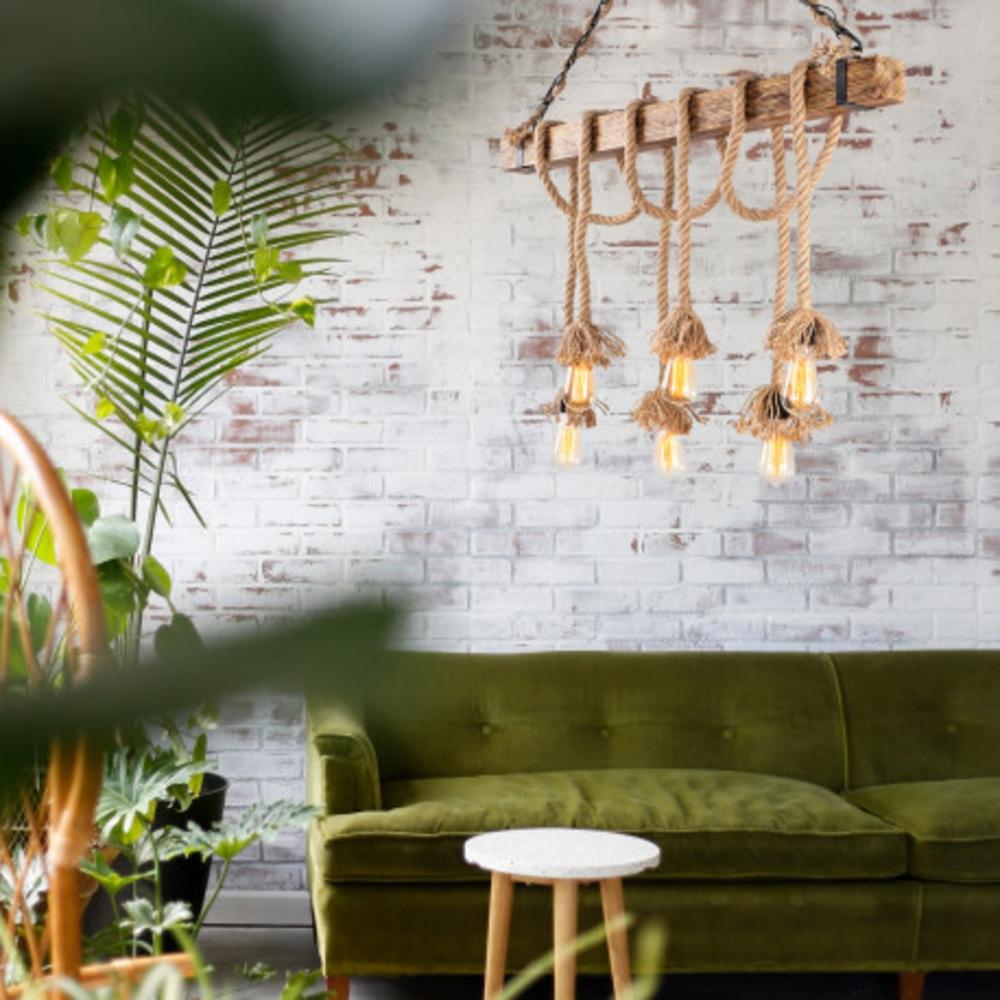 Landelijke hanglamp van hout en touw E27 - sfeerfoto