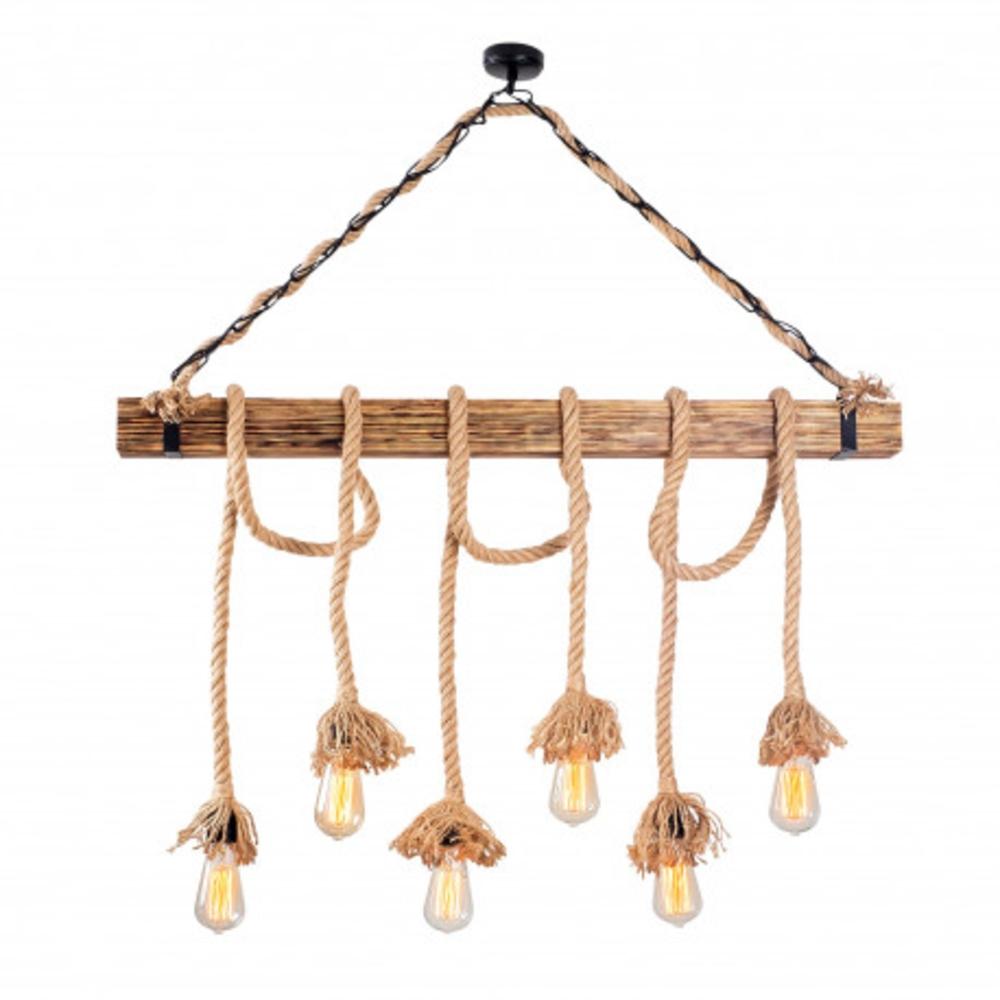 Landelijke hanglamp van hout en touw E27 - vooraanzicht