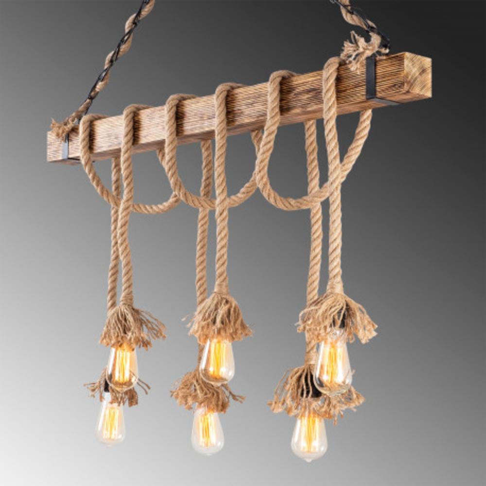 Landelijke hanglamp van hout en touw E27