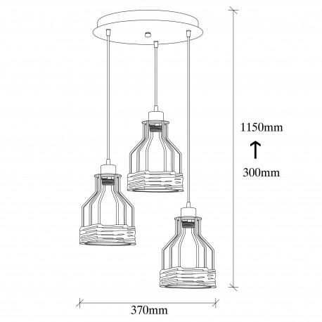 Afmeting landelijk hanglamp 3 dubbel met touw