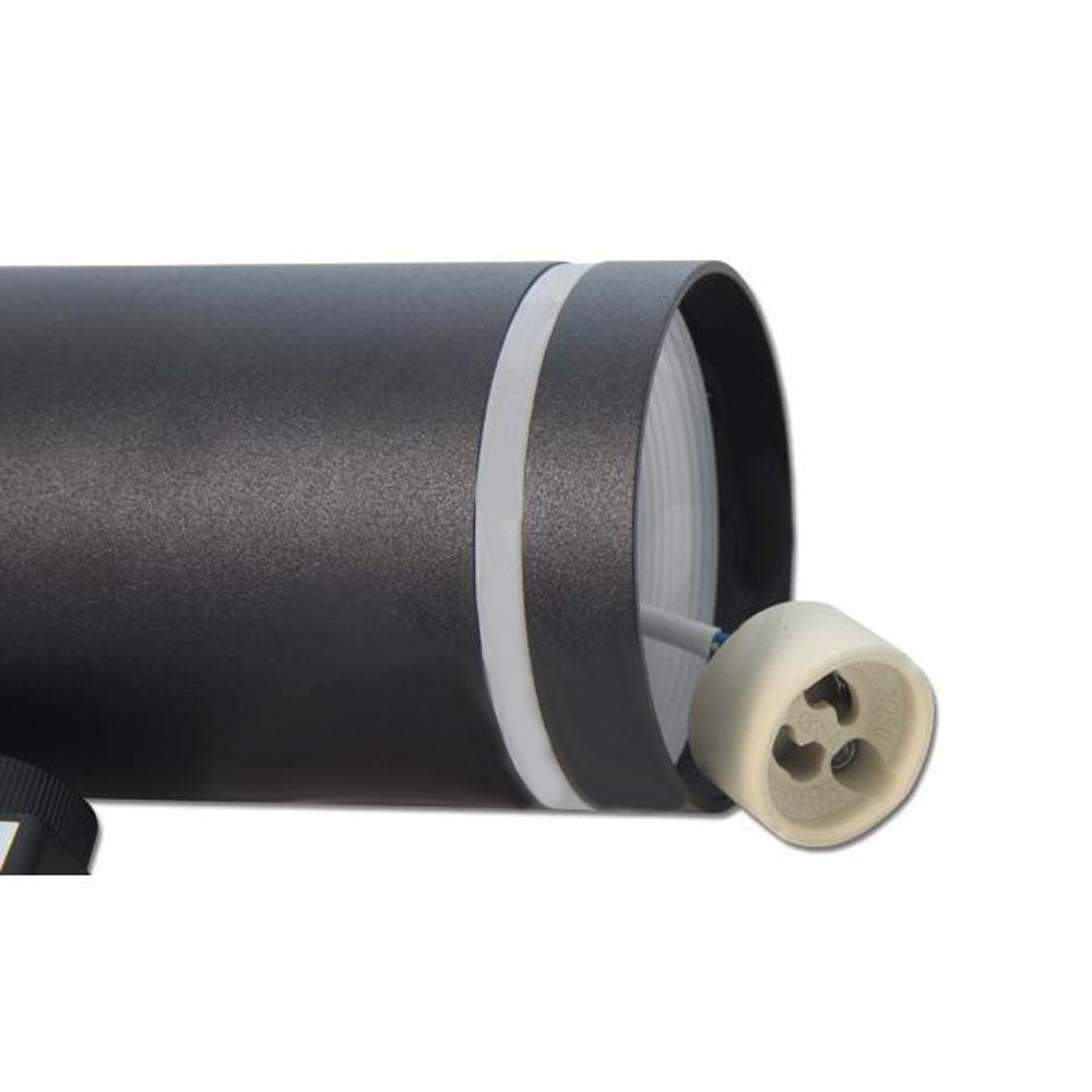 Led 1-fase railspot zwart met witte ring - fitting
