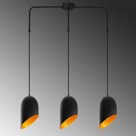 zwart met gouden hanglamp met 3x E27 fitting metaal