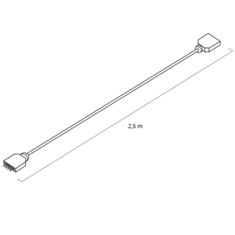 Verlengkabel RGB Led Strip 2,5 meter - afmetingen