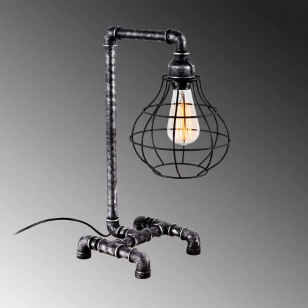 Led tafellamp industrieel grijs zwart E27 fitting - grijze achtergrond