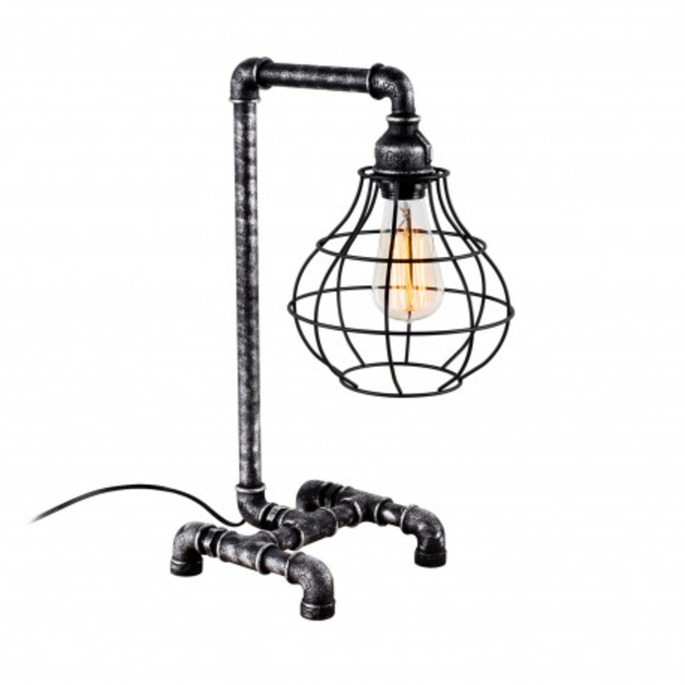 Led tafellamp industrieel grijs zwart E27 fitting - vooraanzicht