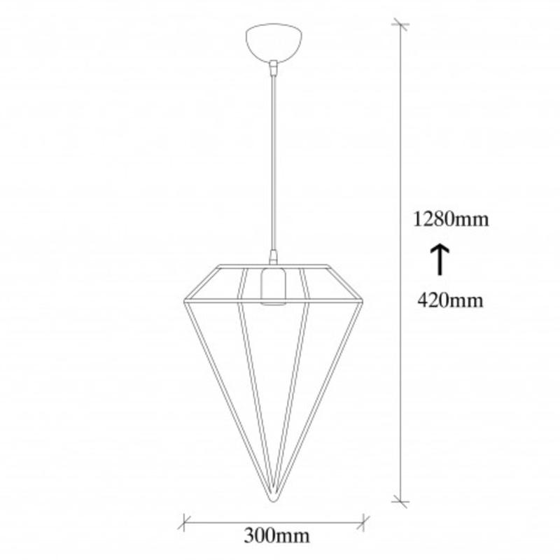 led metalen hanglamp diamond E27 fitting - afmetingen
