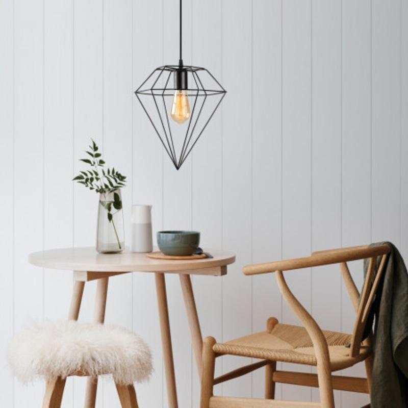 led metalen hanglamp diamond E27 fitting - sfeerfoto