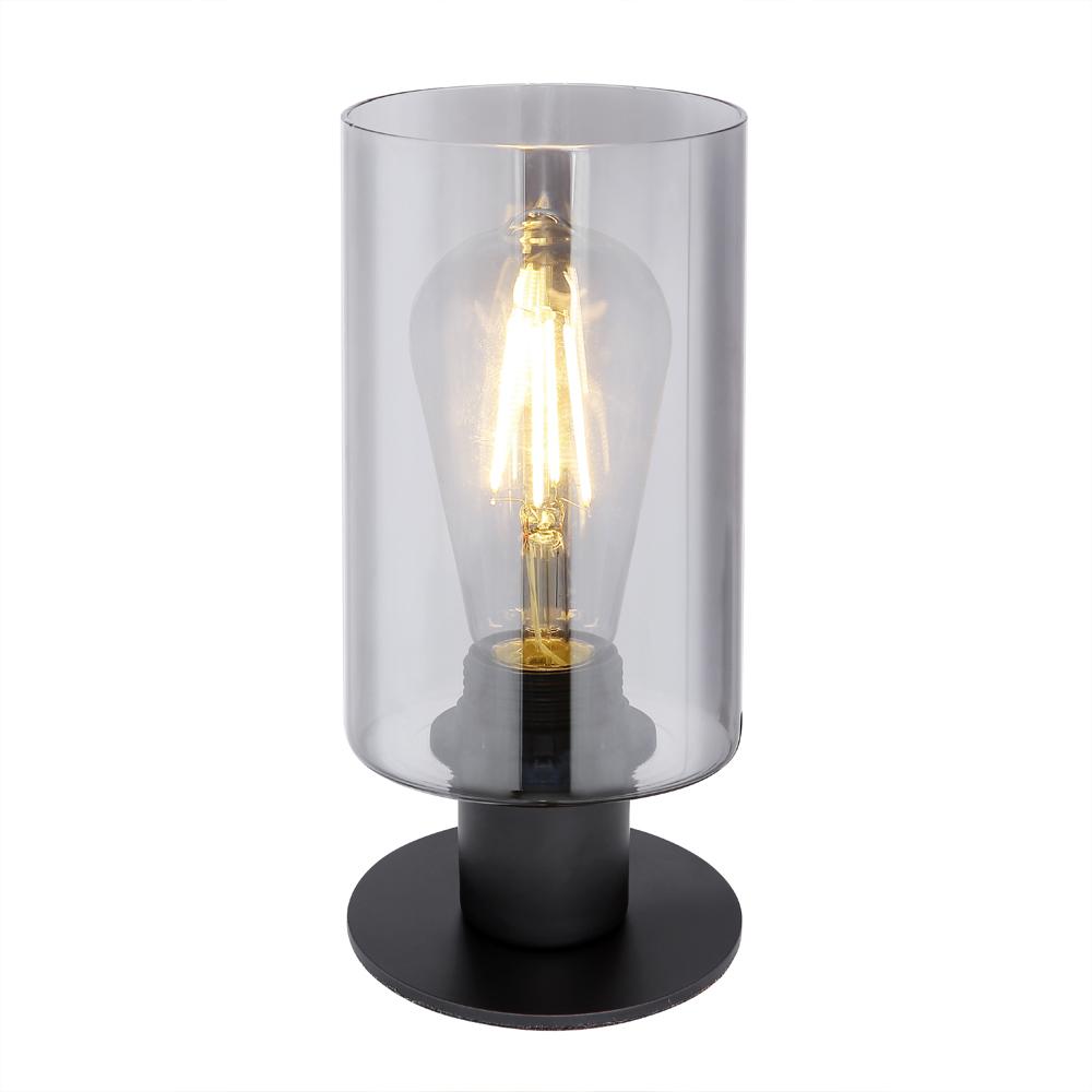 Tafellamp gerookt glas smoked E27 fitting - vooraanzicht lamp aan