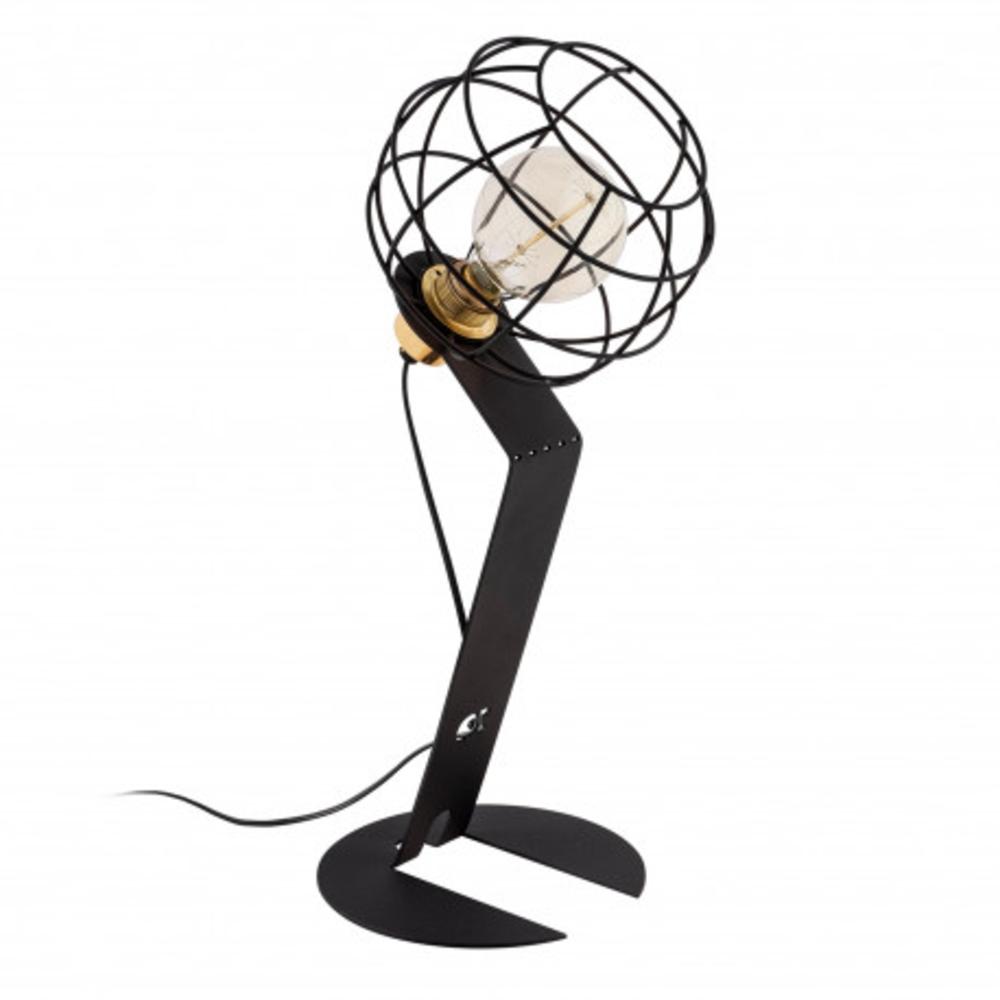 Led tafellamp modern zwart E27 fitting - vooraanzicht lamp aan