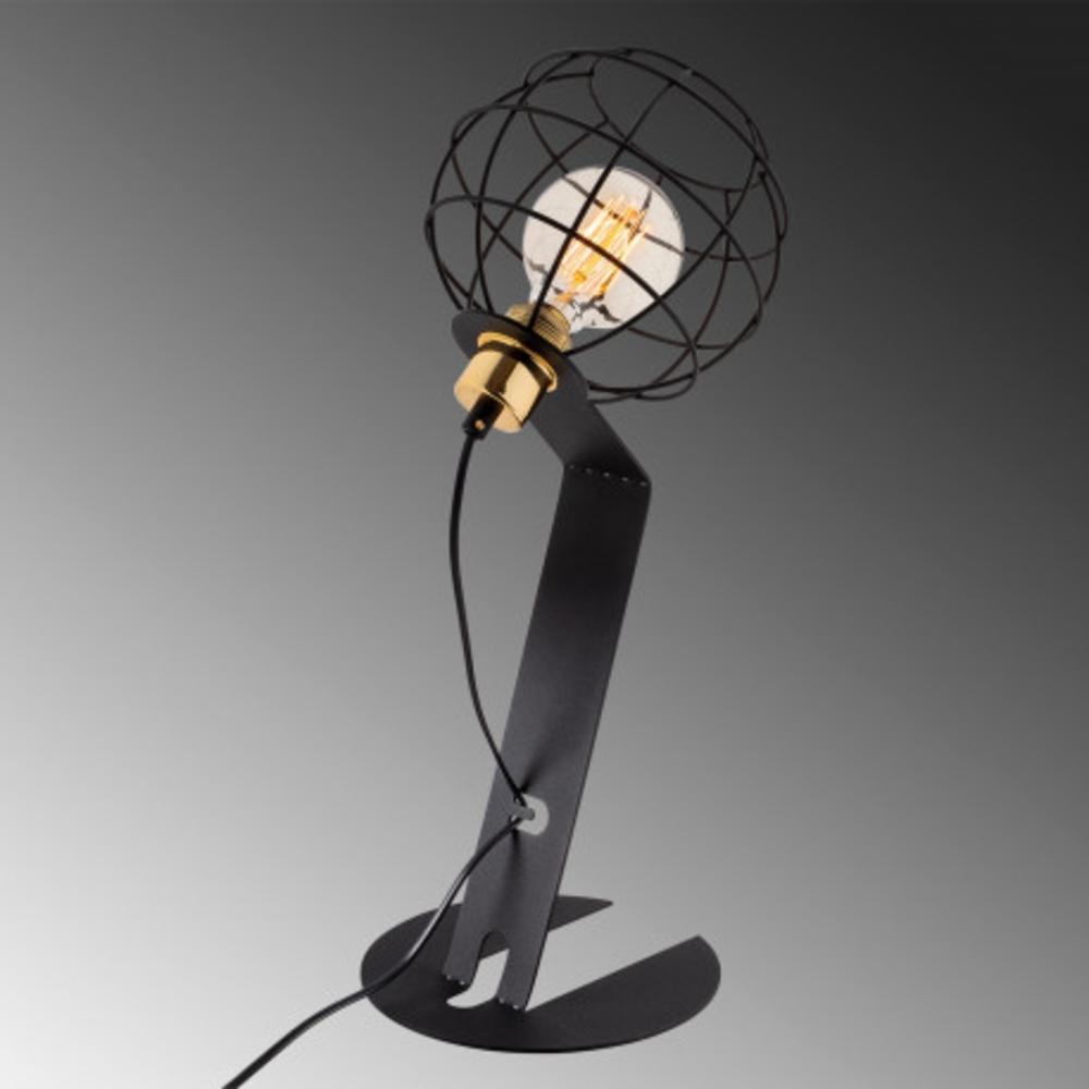 Led tafellamp modern zwart E27 fitting - achterkant
