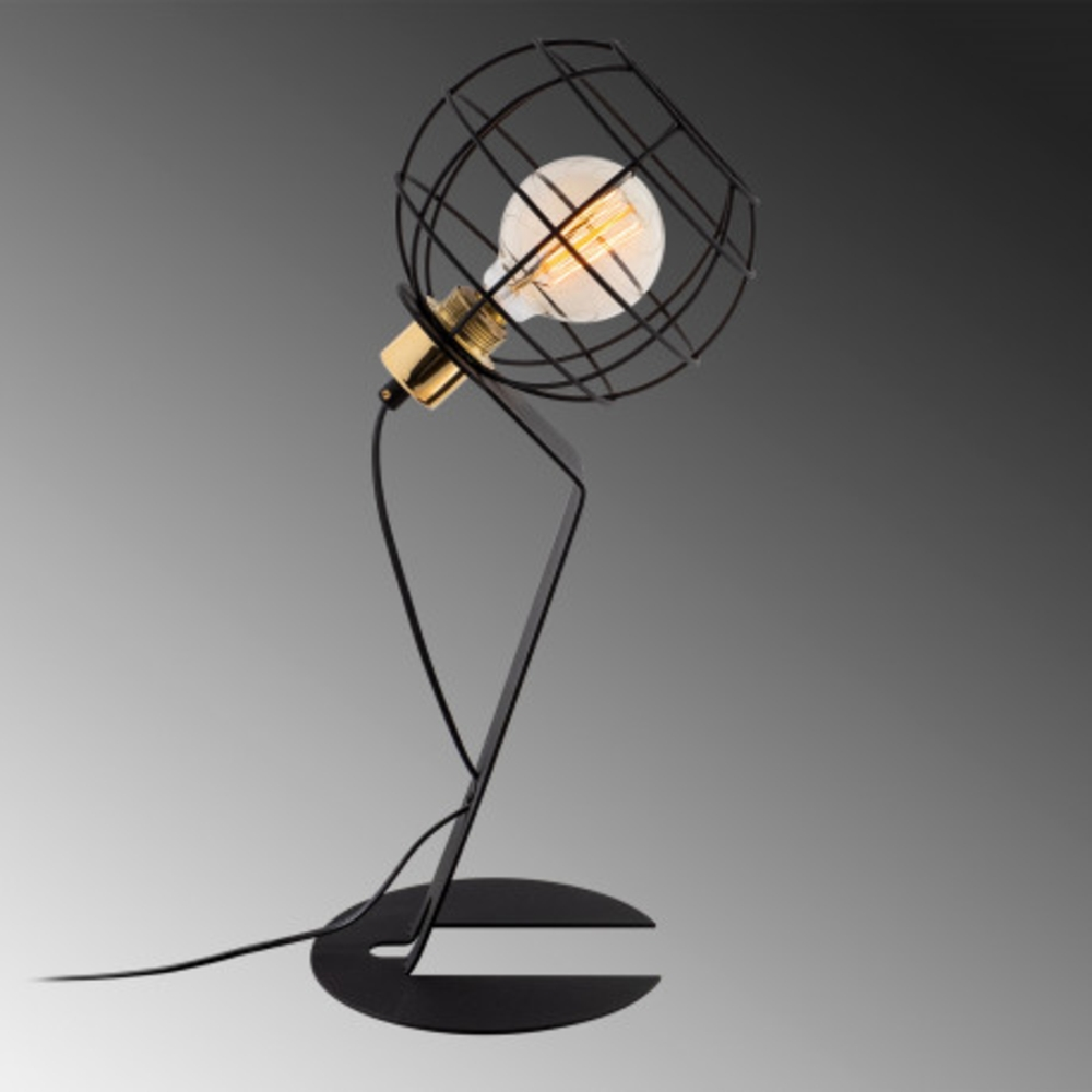 Led tafellamp modern zwart E27 fitting - zijaanzicht