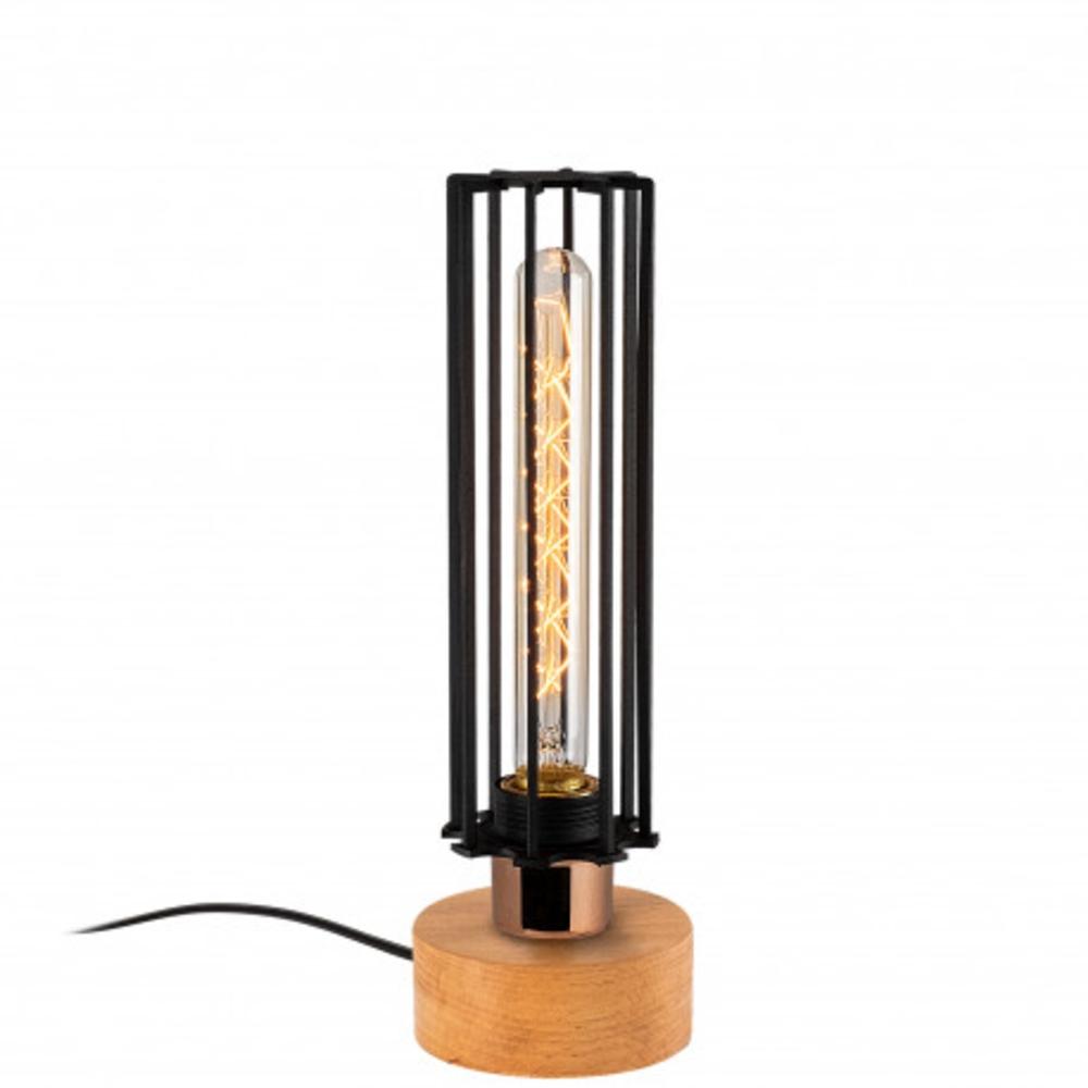 Tafellamp modern zwart koper - vooraanzicht lamp aan