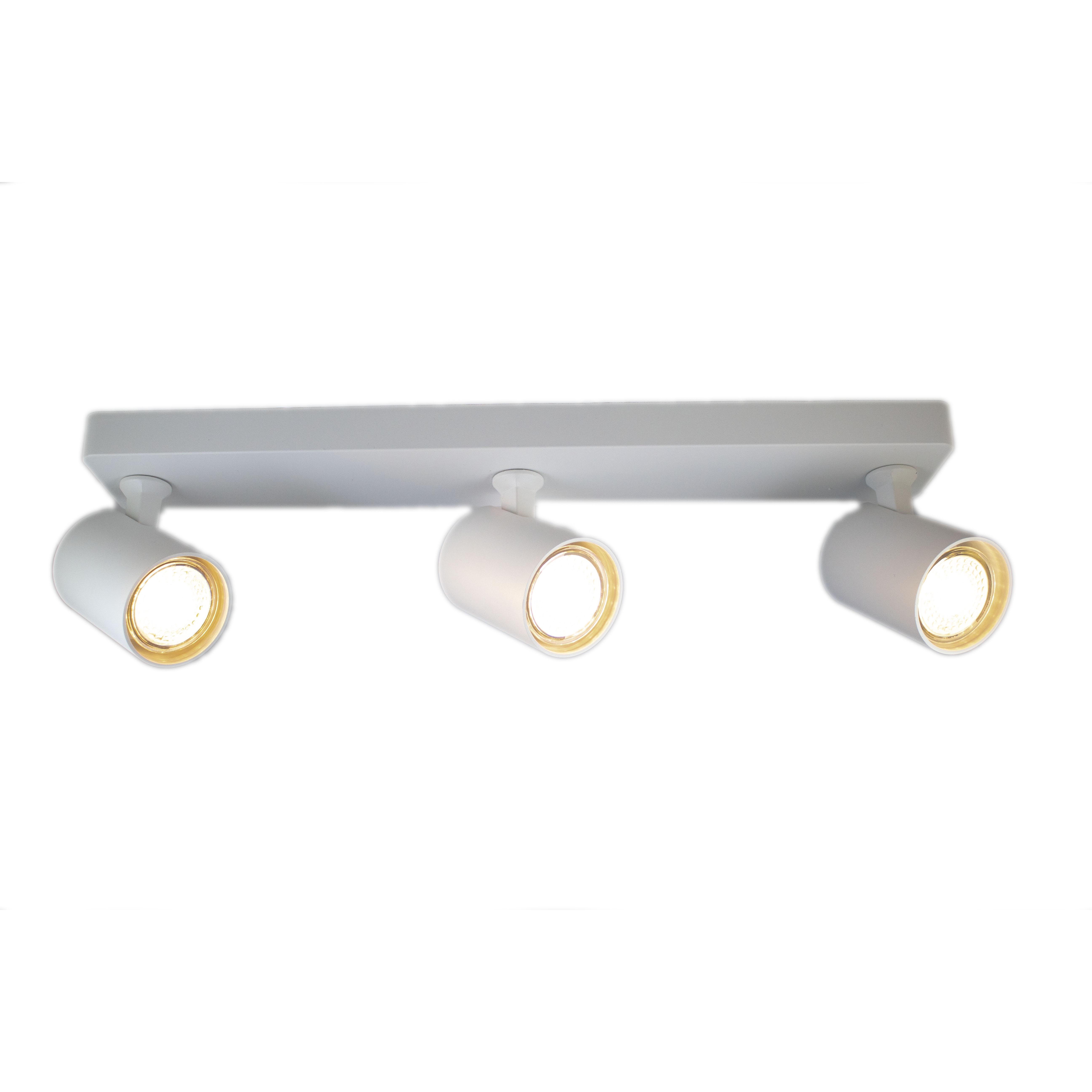 Opbouw spot rechthoek wit 3 keer gu10 fitting - vooraanzicht spot recht