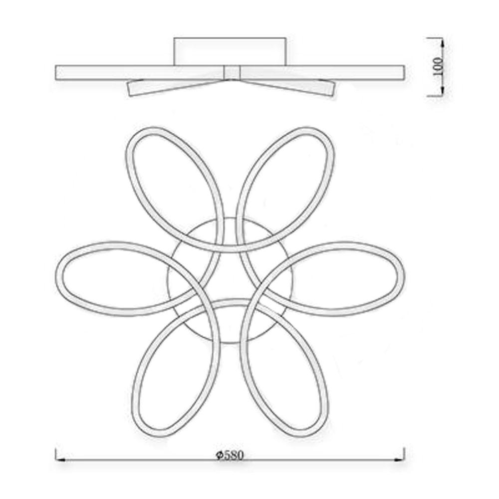 Led Plafondlamp bloem 77 Watt CCT- afmetingen