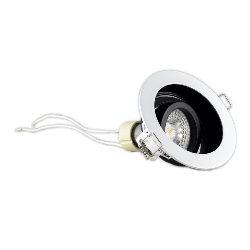 Ronde inbouwspot wit dimbaar 12 Volt 5,5 Watt 2700K Warm wit - armatuur spot gekanteld