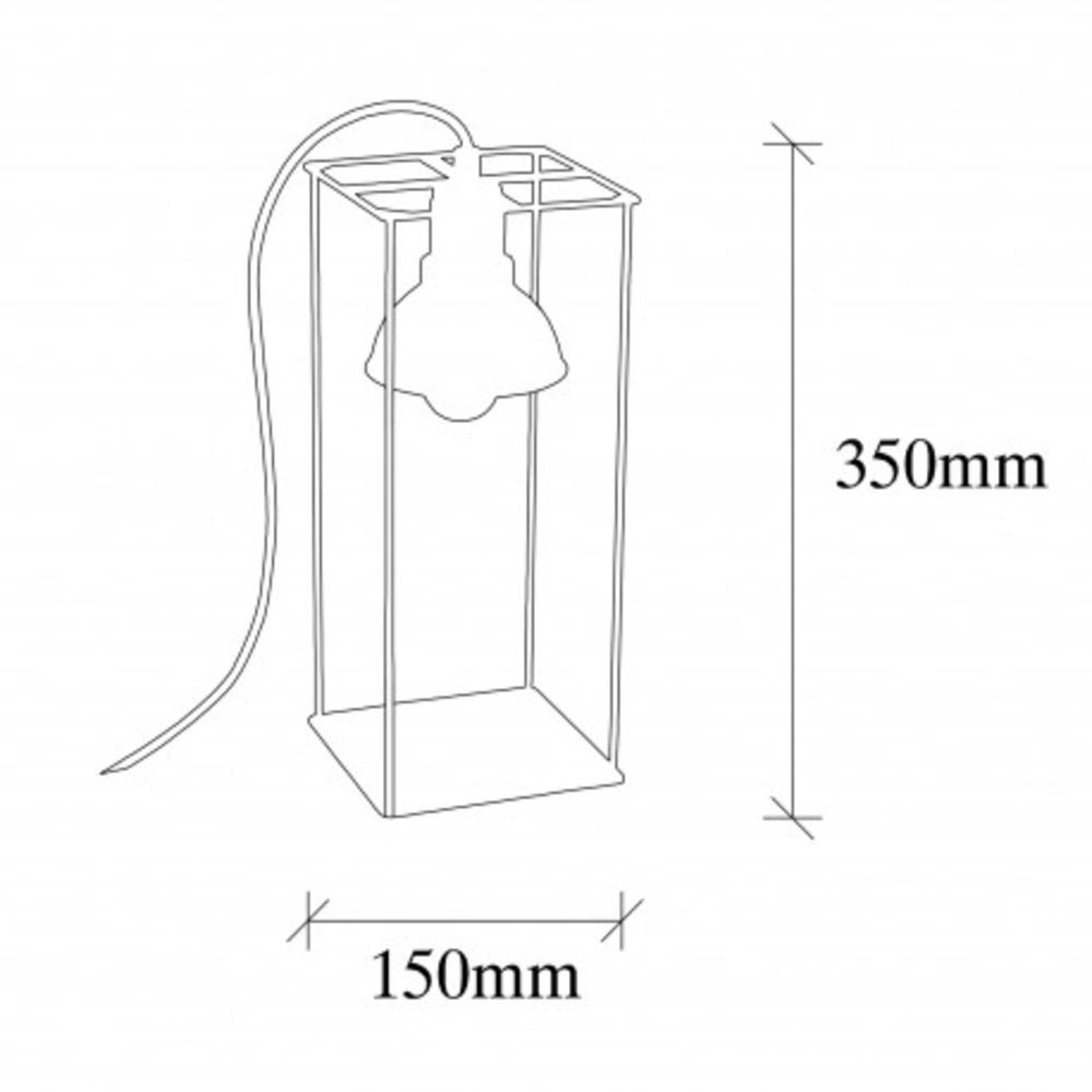 Tafellamp Led Zwart koper E27 fitting - afmetingen