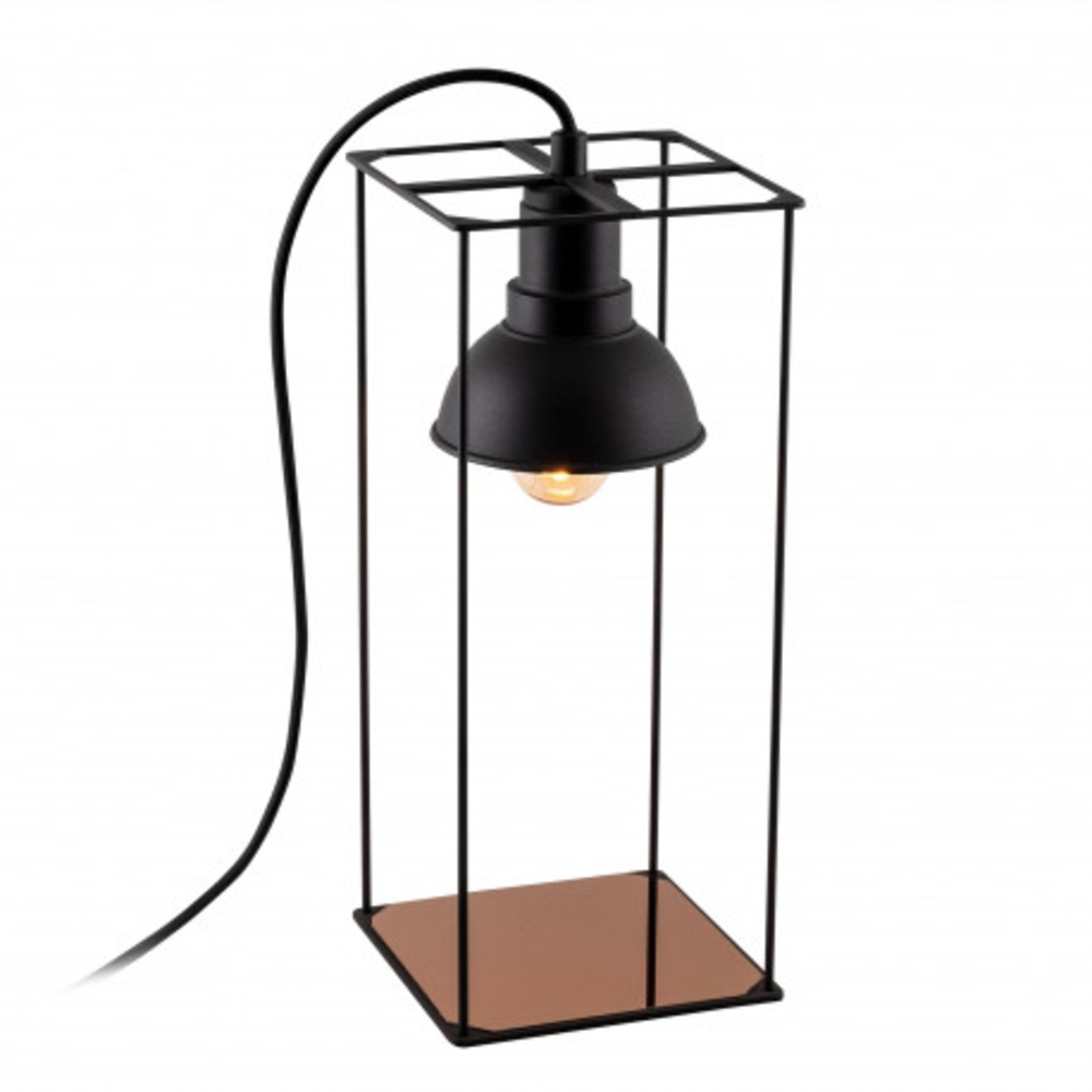 Tafellamp Led Zwart koper E27 fitting - lamp aan