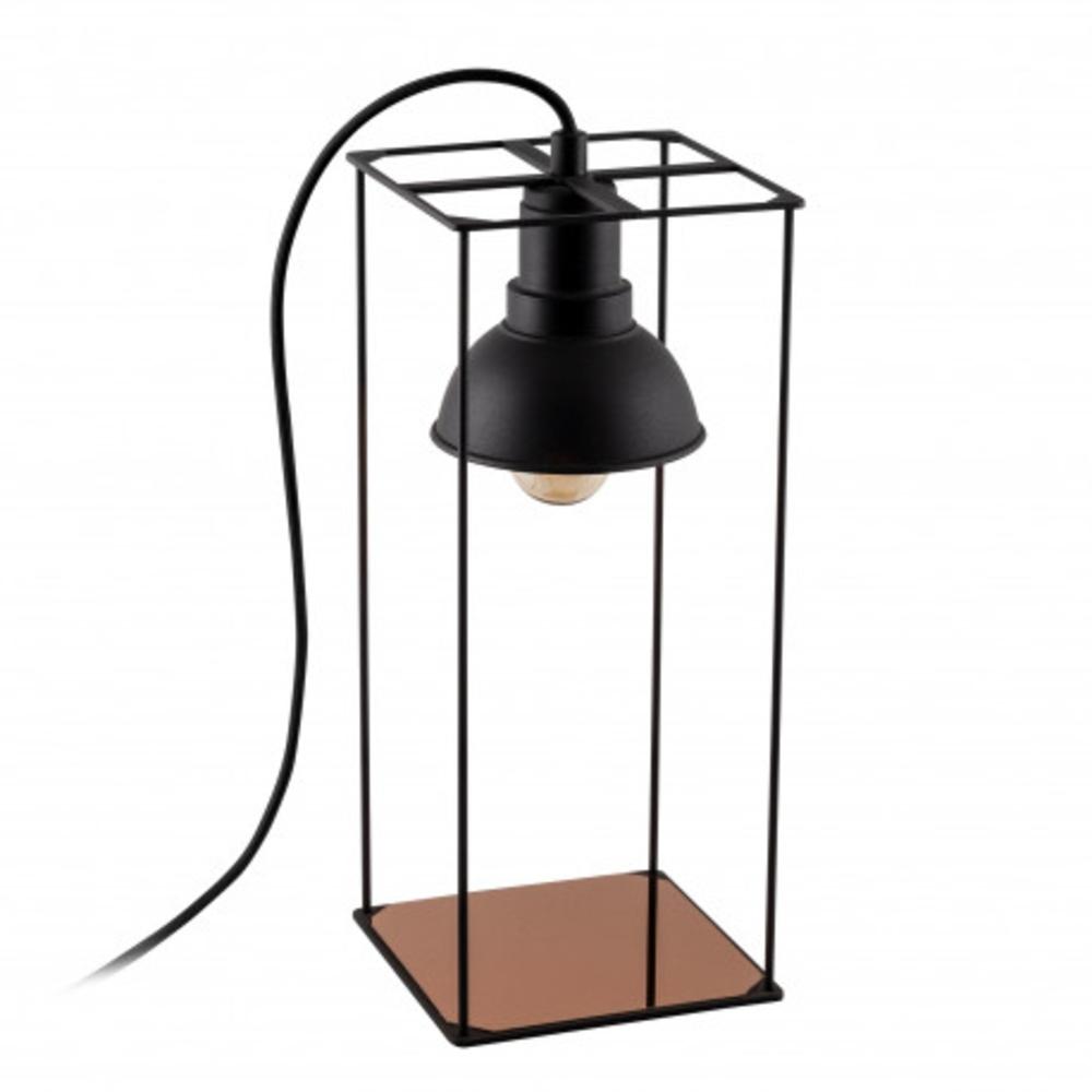 Tafellamp Led Zwart koper E27 fitting - lamp uit vooraanzicht