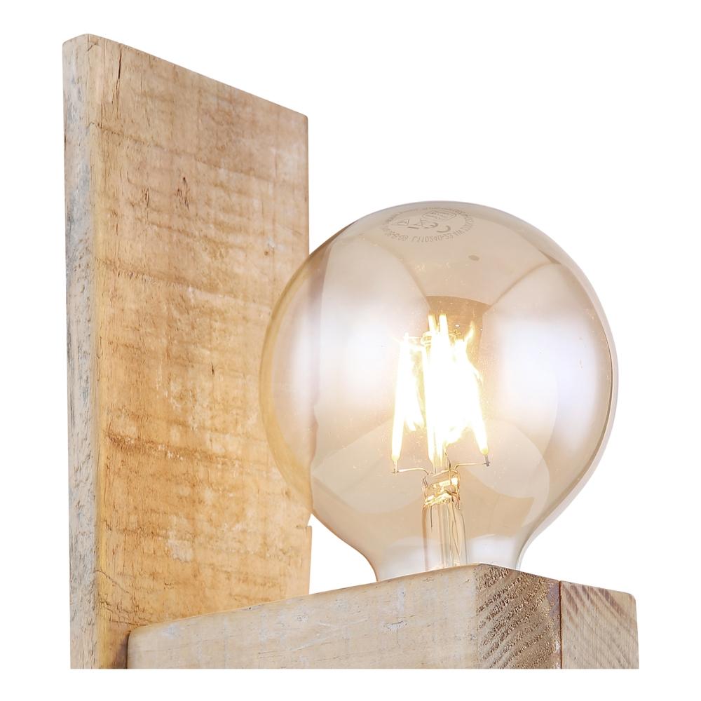 Wandlamp hout metaal E27 fitting - closeup lamp