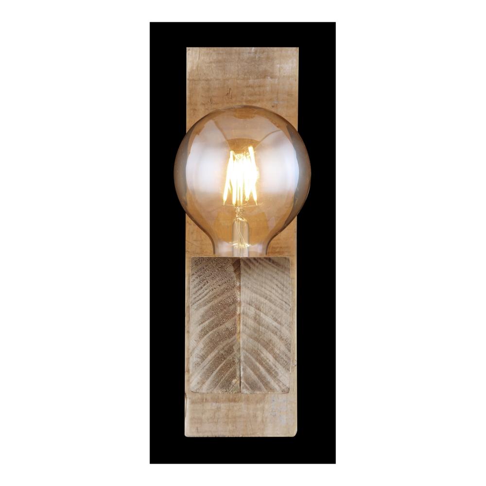Wandlamp hout metaal E27 fitting - vooraanzicht donkere achtergrond