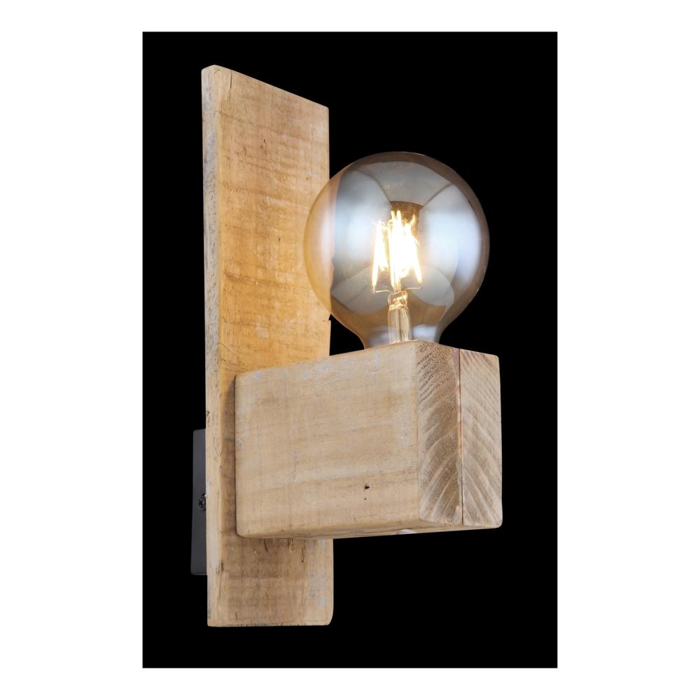 Wandlamp hout metaal E27 fitting - zijaanzicht donkere achtergrond