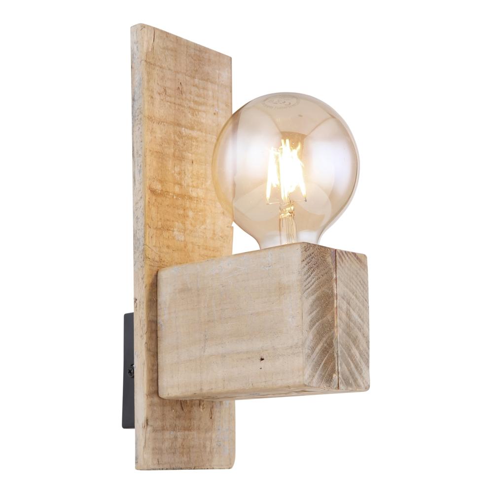 Wandlamp hout metaal E27 fitting - zijaanzicht wandlamp