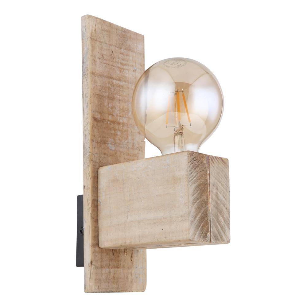 Wandlamp hout metaal E27 fitting - zijaanzicht lamp uit